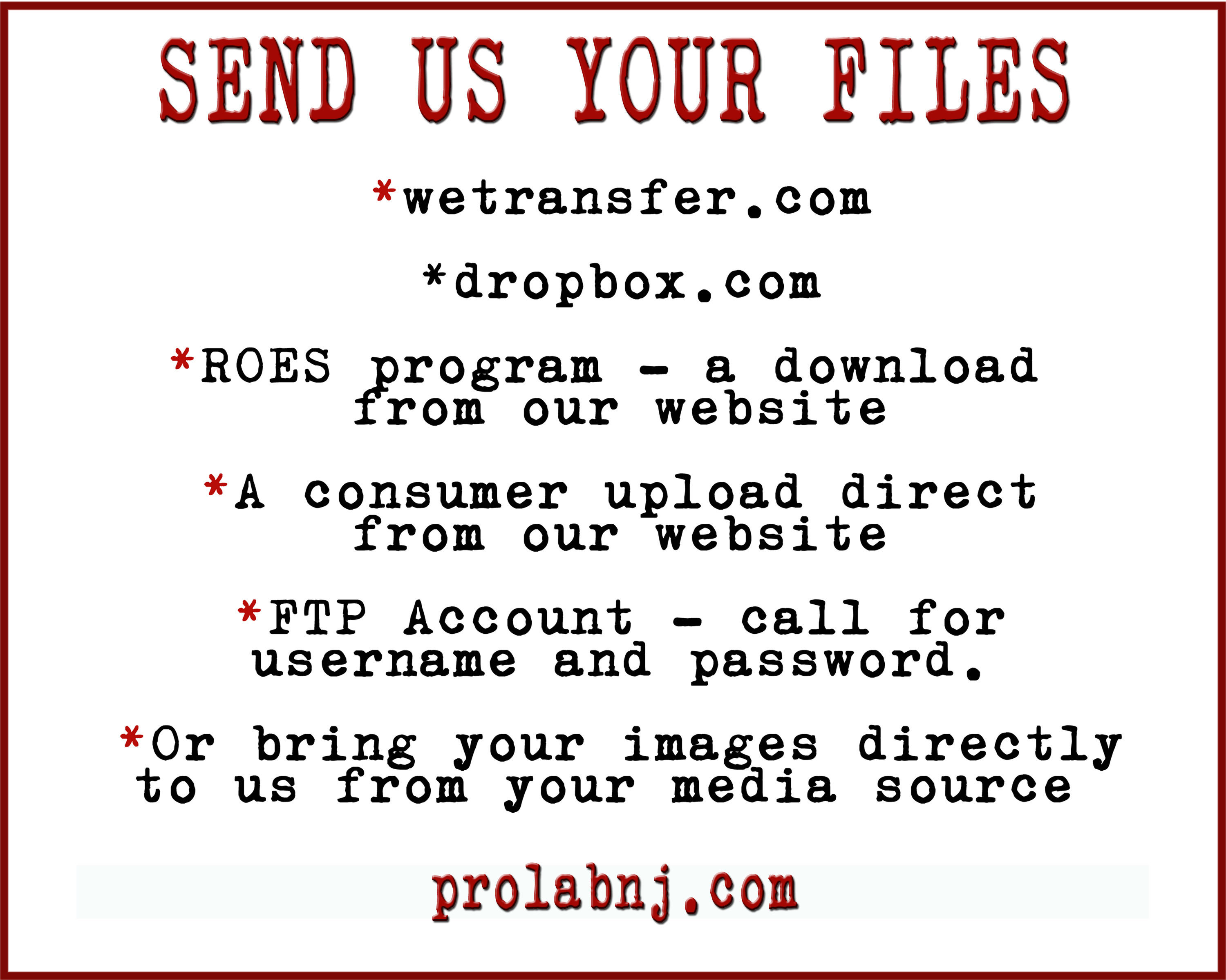 Pro-Lab, Inc  | Send Your Files